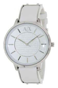 Harga ARMANI EXCHANGE Women's White Leather Strap Watch AX5300