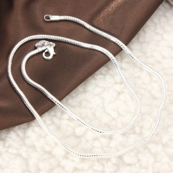 Harga Stunning 925 Sterling Silver 3MM Classic Snake Necklace Chain Fashion Style 16'' - intl