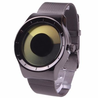 Harga New Fashion Creative Concept Swirl no pointer luminous simplicity Watch Black Watchband (Yellow) (Intl) - intl