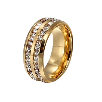 Harga Hequ Double Diamond Titanium Stainless Steel Ring Size 21 (Golden)
