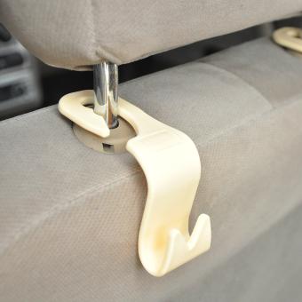 CHEER Universal 4 Pcs Car Interior Accessories Portable Auto Seat Hook Hanger Beige - 4