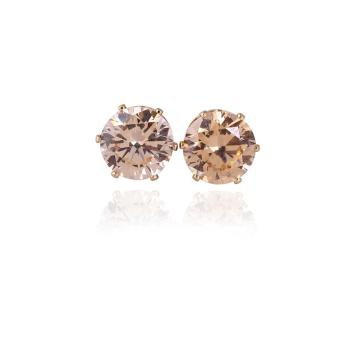 Cute 18K Gold Plated Stud Earring Inlay Yellow Zircon Round CZ Crystal (Brown)