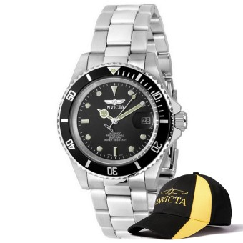 Harga Invicta Pro Diver Men 40mm Case Silver Stainless Steel Strap Black Dial Automatic Watch 8926OB