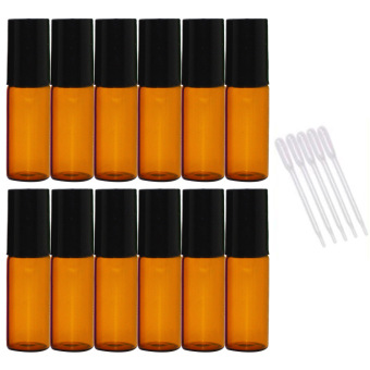 Harga 12 PCS 5ml Empty Dark Brown Glass Aromatherapy Perfume Essential Oil Roller Bottles Roll On Bottle + 5 PCS 0.2ml Dropper
