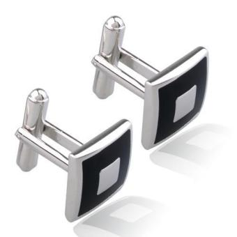 2pcs Stainless Steel Square Cufflinks Cuff Links Silver+Black for Men Fashion - intl - 2