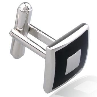 2pcs Stainless Steel Square Cufflinks Cuff Links Silver+Black for Men Fashion - intl - 3