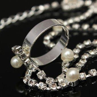 Crystal Rhinestone Pearl Hand Harness Bracelet Chain Link Finger Ring Jewelry - 4