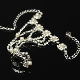 Crystal Rhinestone Pearl Hand Harness Bracelet Chain Link Finger Ring Jewelry - 5