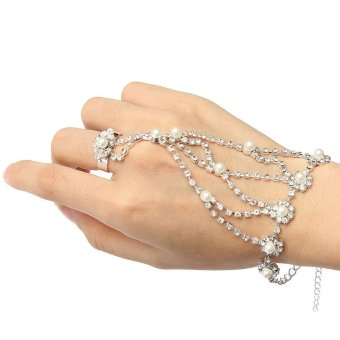Crystal Rhinestone Pearl Hand Harness Bracelet Chain Link Finger Ring Jewelry - 2
