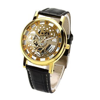 Fancyqube Retro Roman Numerals Watch Strap Couple Table Watches Gold/Black