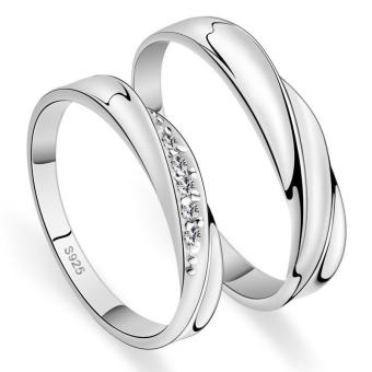 Harga Couple Rings Jewellry 925 Silver Adjustable Lovers Ring Jewelry E004 - intl