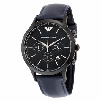 Harga Emporio Armani Herringbone Dial Blue Leather Watch AR2481
