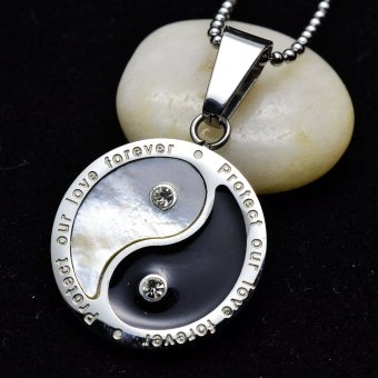 Harga Silver Tone Stainless Steel Yin Yang Taichi Shell Inlaid Pendant Necklace 60CM(Export)