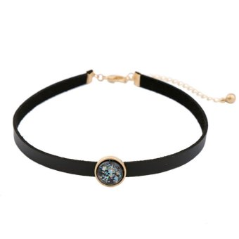 Ichic Womens Punk Style Leather Choker Necklace with Colored Stone - intl