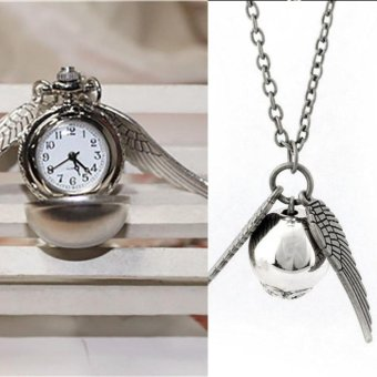 Harry Potter Snitch Watch Necklaces Steampunk Quidditch Pocket Pendant silver - intl
