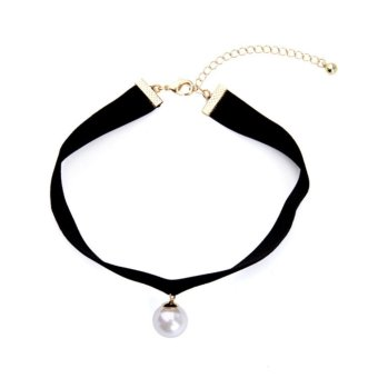 Ichic Womens Simple Punk Style Black Velvet Choker Necklace with Pearl - intl