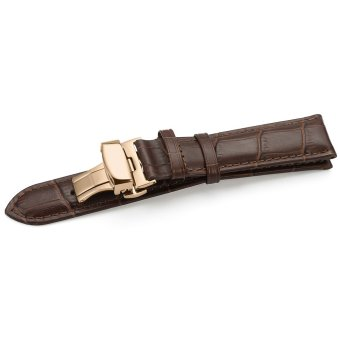 iStrap 13mm Calf Leather Watch Band Strap W/ Rose Gold Steel Push Button Deployment Buckle Brown - 3