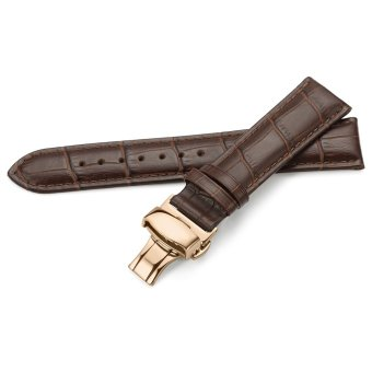 iStrap 13mm Calf Leather Watch Band Strap W/ Rose Gold Steel Push Button Deployment Buckle Brown - 2
