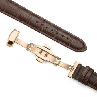 iStrap 13mm Calf Leather Watch Band Strap W/ Rose Gold Steel Push Button Deployment Buckle Brown - 4
