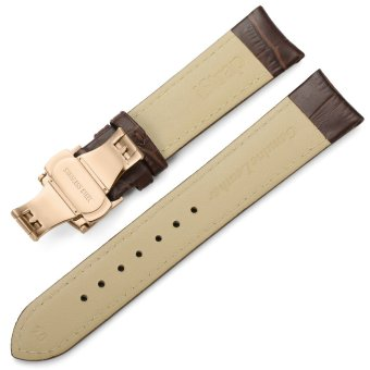 iStrap 13mm Calf Leather Watch Band Strap W/ Rose Gold Steel Push Button Deployment Buckle Brown - 5