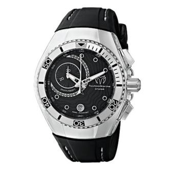 Harga TechnoMarine Watch Cruise One Chronograph Stainless Steel Case Black/Black Diamonds Dial 0.14ct, Black Strap