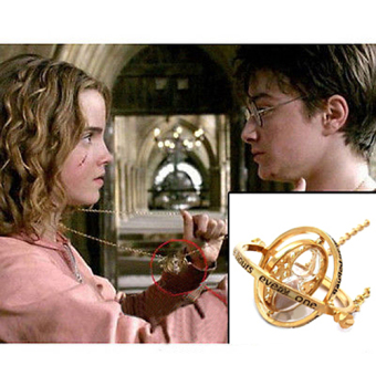 Comebuy88 Harry Potter Hermione Granger Rotating Time Turner Necklace Gold Hourglass