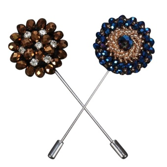 2Pcs Unisex Women Men Plastic Beads Lapel Pin Boutonniere Stick Brooch Handmade Accessories for Wedding Party Fashion Show Prom Suit Banquet Clothing Embellishment Style A - intl
