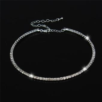 Harga LALANG New Women Crystal Rhinestone Necklace Crew Neck Jewelry 1-row Crystal