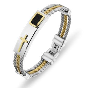 Men's Bracelet 3Rows Wire Chain Bracelets Bangles Fashion Punk Stainless Steel Cross Bracelet Men Christian Men Jewelry - intl ...