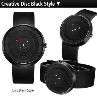 Break Unique Disc Black Style Creative Cool Brand Men Unisex Lovers Rubber Strap Quartz Fashion Casual Sports Watches (Export) - 3