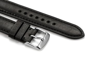 iStrap 20mm Genuine Calf Leather Watch Band Strap Steel Spring Bar Buckle Replacement Super Soft Clasp Black 20 - 3