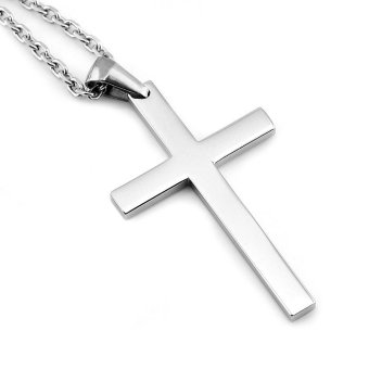 Harga Sirius Jewelry Mens Fashion Gift Crucifix Cross Stainless Steel Pendant Necklaces with Gift Box
