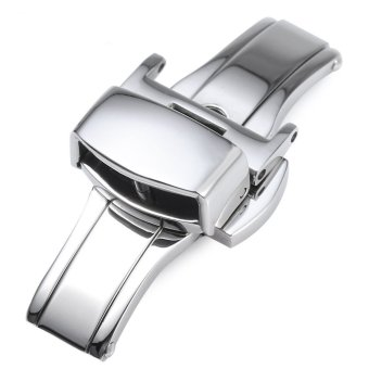Harga 12MM Stainless Steel Watch Buckle Deployment Butterfly Clasp (SILVER)