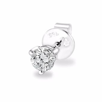 MaBelle 18K White Gold Three Prong Setting Round Diamond Single Stud Earring (0.08 cttw, G-H color, SI1 Clarity)