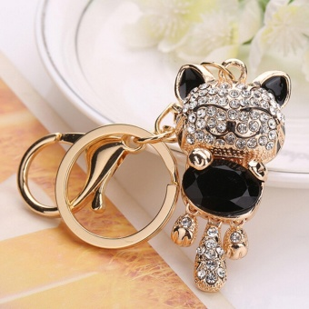 Harga Lucky Smile Cat Crystal Rhinestone Keyrings Holder Purse Bag Gift Keychains Black - intl
