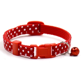 Harga Bluelans Adjustable Polka Dot Print Nylon Dog Collar Necklace with Bell Red