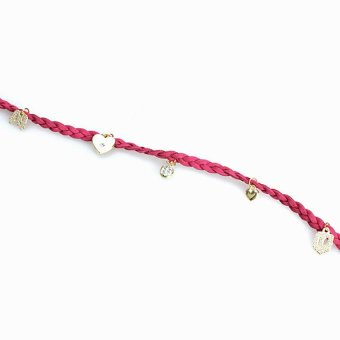 Harga Multilayer Pearl Love Heart Crystal Braid Rope Bracelet Bangle Rose Red