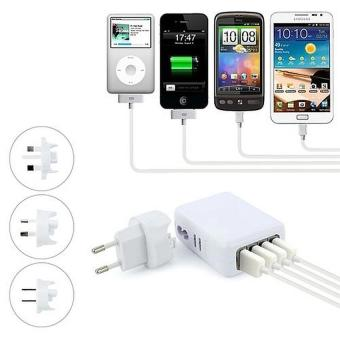 Xubox 4 USB Ports AC Universal Travel Wall Adaptor Charger with 4 AC Plugs - intl