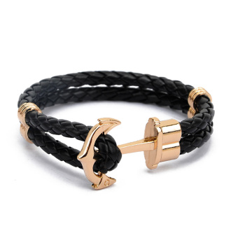 Harga Moonar Fashion PU leather Weaved Anchor Bracelet for Couples Lovers