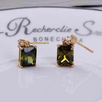 18K Gold Plated Green Zircon Rhinestone Decorated Square Stud Earrings(Export)