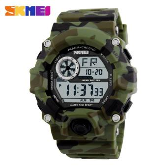 SKMEI 1019 Men Sports Watches Chronograph Alarm Military Digital Wristwatches Camouflage Red Water Resistant Relogio Masculino