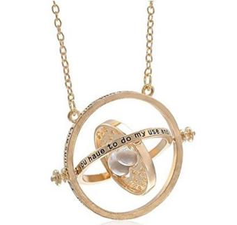 Harry Potter Time Turner Necklace Hermione Granger Rotating Spins Gold Hourglass - intl