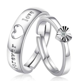 Harga Couple Rings Jewellry 925 Silver Adjustable Lovers Ring Jewelry E003 - intl