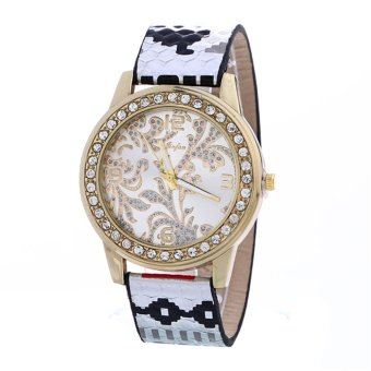 Harga Puffier Leisure Women Fashion Diamond Leather Belt Quartz Watch - intl