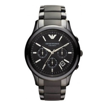 Harga Emporio Armani Ceramica Men's Black Stainless Steel Chronograph Watch AR1452