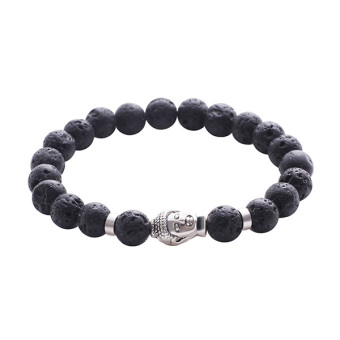 Harga Jewelry Mens 8mm Lava Rock Bracelet with Silver Buddha Natural Stone Beads Bracelet - intl