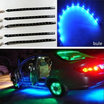 Harga 5pcs 12V Blue 15 LED 30cm Car Motor Vehicle Flexible Waterproof Strip Light - intl