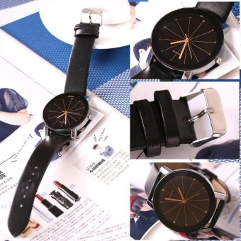 Harga Lovers Casual Simple Quartz Wristwatch (Black Dail & Brown Band) - intl