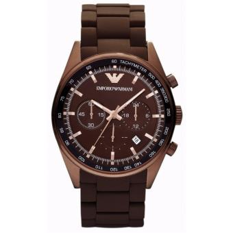 Harga Emporio Armani Sportivo Brown Silicone Strap Brown Case Watch AR5982