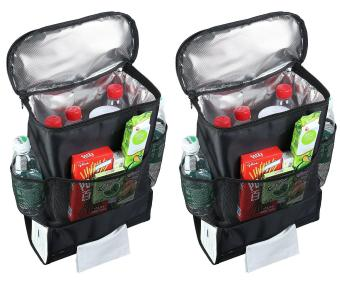 Harga 2 Pack Car Back Seat Organizer/Auto Seat /Multi-Pocket Travel Storage Bag/Insulated Car Seat Back Drinks Holder Cooler /Storage Bag Cool Wrap Bottle Bag/Mesh Pockets(Heat-Preservation) Black - intl
